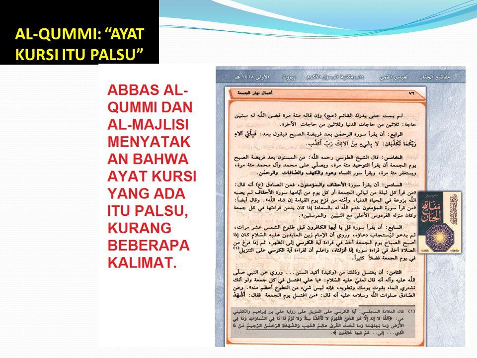 """AL-QUMMI: """"AYAT KURSI ITU PALSU"""""""