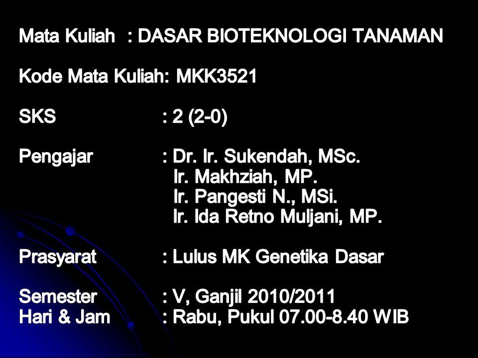 1.Status MK Dasar Bioteknologi Tanaman merupakan mata kuliah wajib PS Agroteknologi, Semester V 2.