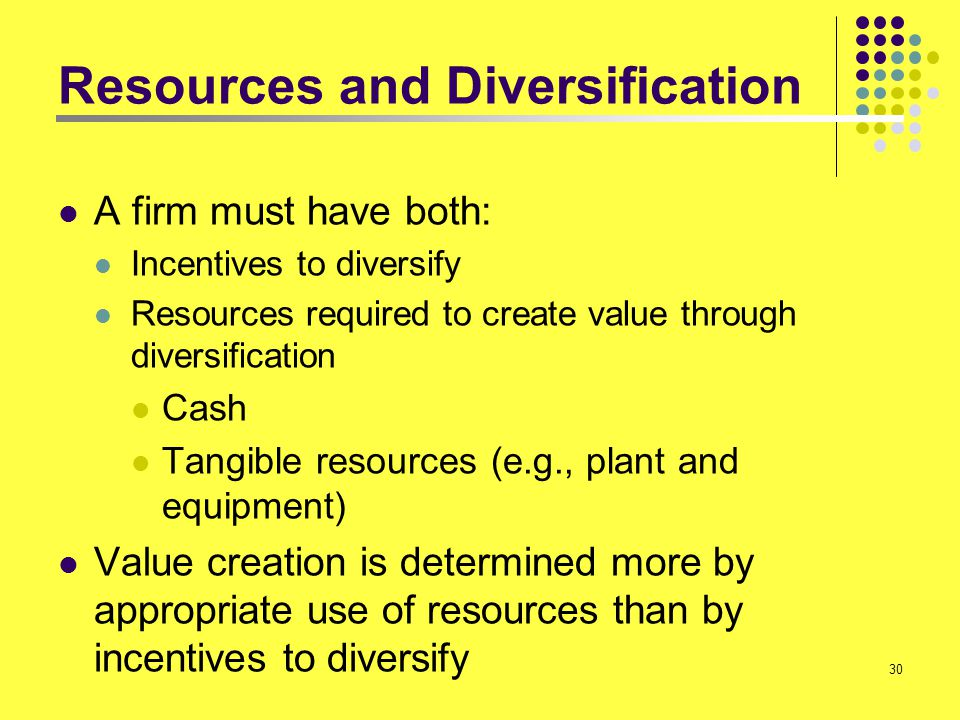 30 Resources and Diversification A firm must have both: Incentives to diversify Resources required to create value through diversification Cash Tangib