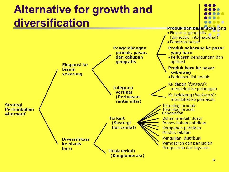 34 Produk dan pasar sekarang Ekspansi geografis (domestik, internasional) Penetrasi pasar Produk sekarang ke pasar yang baru Perluasan penggunaan dan