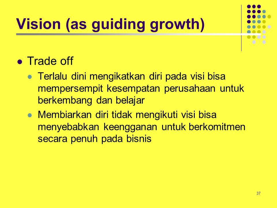 37 Vision (as guiding growth) Trade off Terlalu dini mengikatkan diri pada visi bisa mempersempit kesempatan perusahaan untuk berkembang dan belajar M