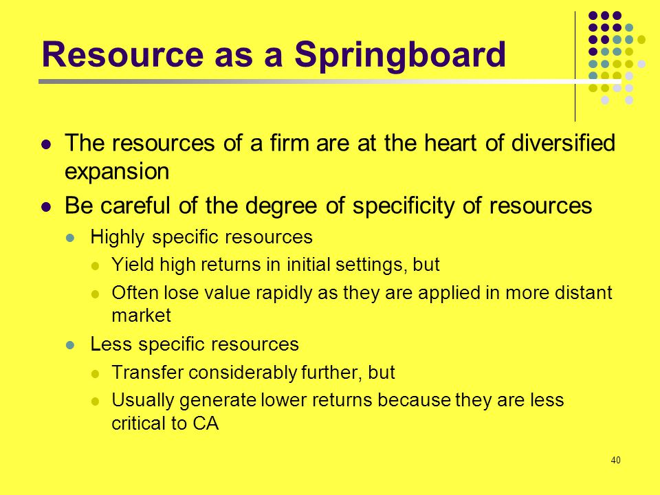 40 Resource as a Springboard The resources of a firm are at the heart of diversified expansion Be careful of the degree of specificity of resources Hi