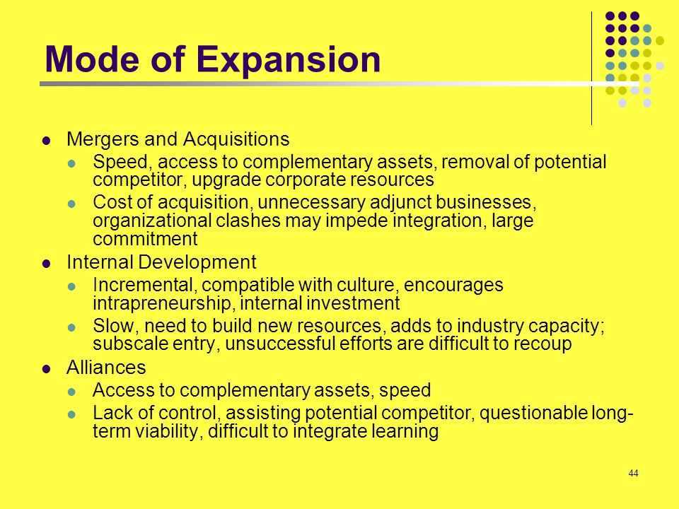 44 Mode of Expansion Mergers and Acquisitions Speed, access to complementary assets, removal of potential competitor, upgrade corporate resources Cost