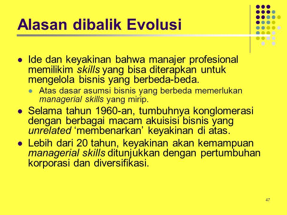 47 Alasan dibalik Evolusi Ide dan keyakinan bahwa manajer profesional memilikim skills yang bisa diterapkan untuk mengelola bisnis yang berbeda-beda.