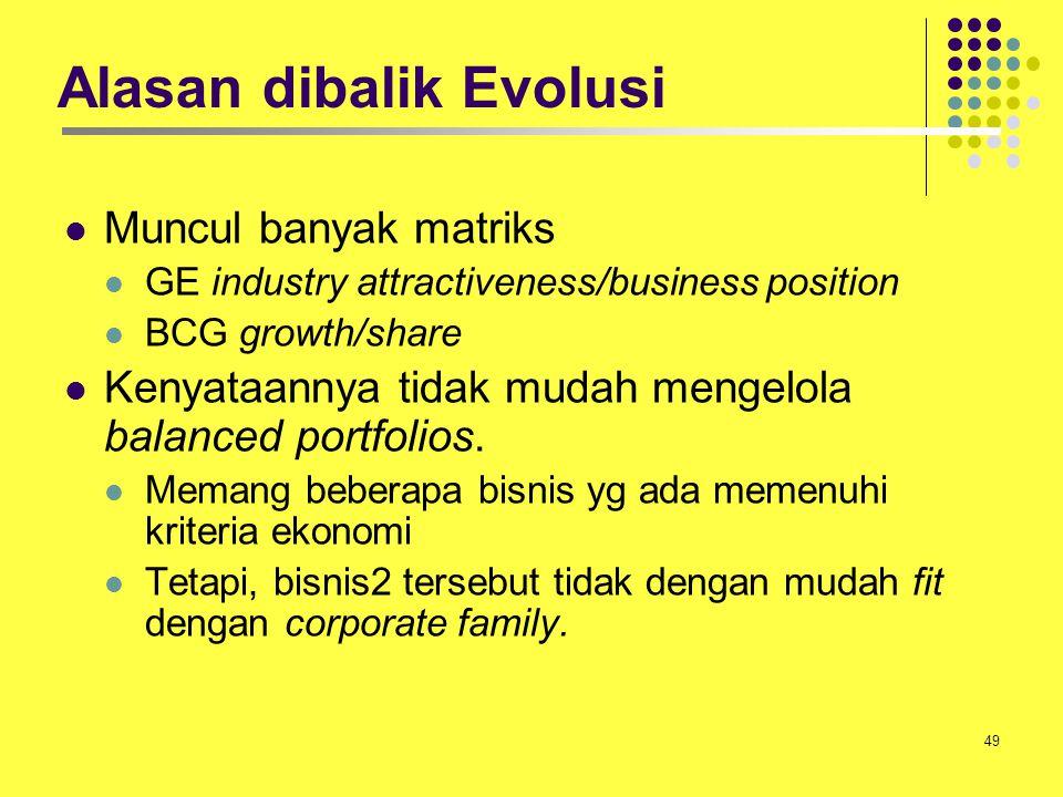 49 Alasan dibalik Evolusi Muncul banyak matriks GE industry attractiveness/business position BCG growth/share Kenyataannya tidak mudah mengelola balan