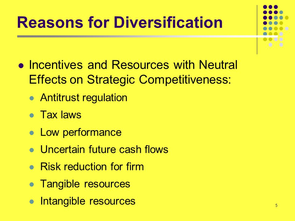 26 Internal Incentives to Diversify High performance eliminates the need for greater diversification Low performance acts as incentive for diversification Firms plagued by poor performance often take higher risks (diversification is risky) Low Performance