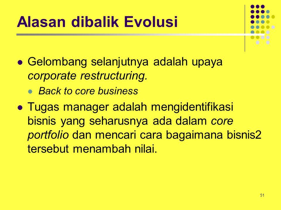 51 Alasan dibalik Evolusi Gelombang selanjutnya adalah upaya corporate restructuring. Back to core business Tugas manager adalah mengidentifikasi bisn