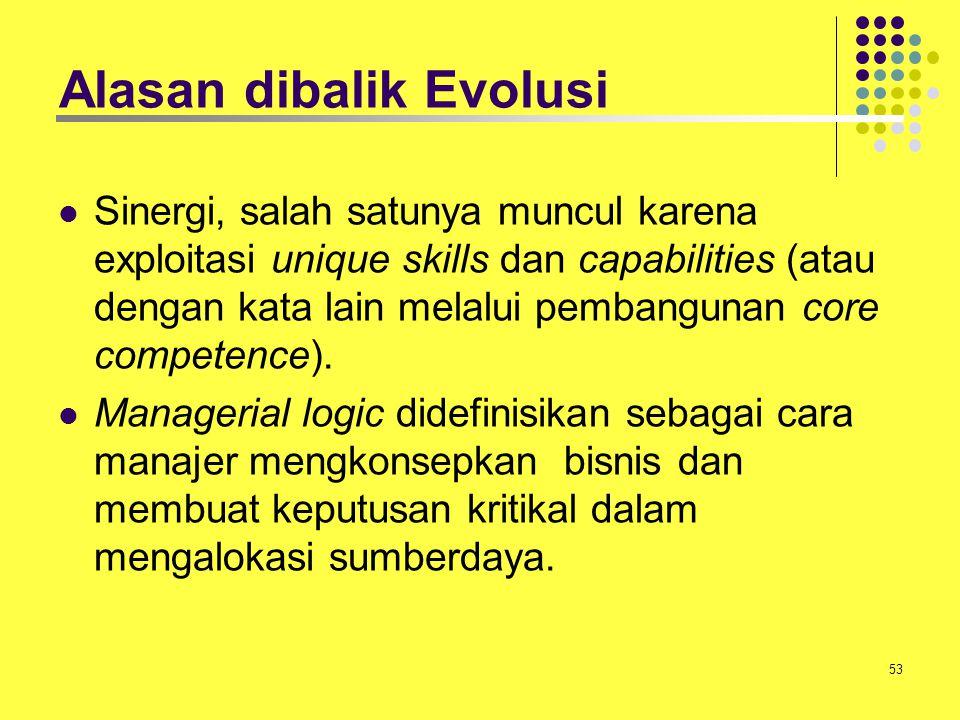 53 Alasan dibalik Evolusi Sinergi, salah satunya muncul karena exploitasi unique skills dan capabilities (atau dengan kata lain melalui pembangunan co
