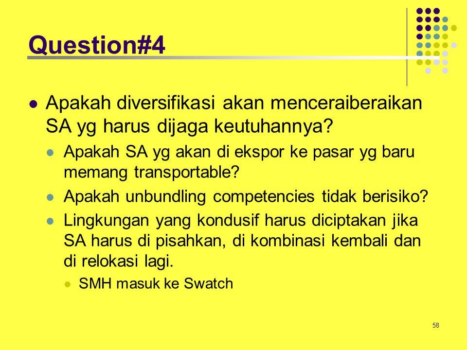 58 Question#4 Apakah diversifikasi akan menceraiberaikan SA yg harus dijaga keutuhannya? Apakah SA yg akan di ekspor ke pasar yg baru memang transport