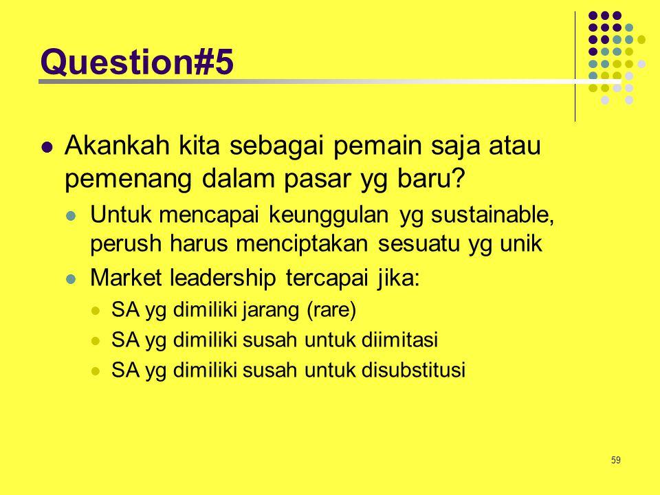 59 Question#5 Akankah kita sebagai pemain saja atau pemenang dalam pasar yg baru? Untuk mencapai keunggulan yg sustainable, perush harus menciptakan s