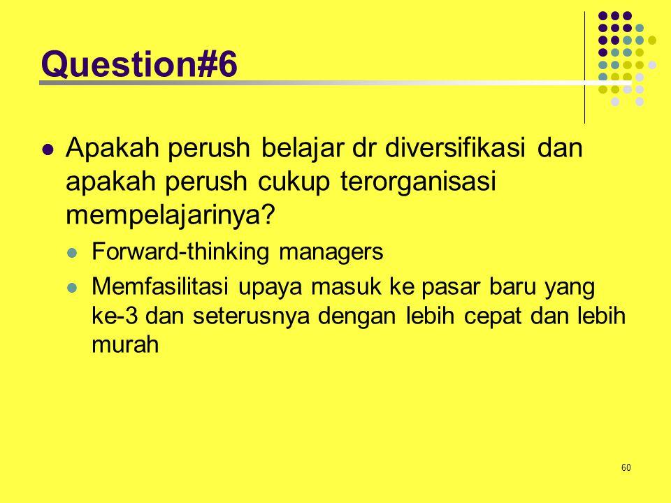 60 Question#6 Apakah perush belajar dr diversifikasi dan apakah perush cukup terorganisasi mempelajarinya? Forward-thinking managers Memfasilitasi upa