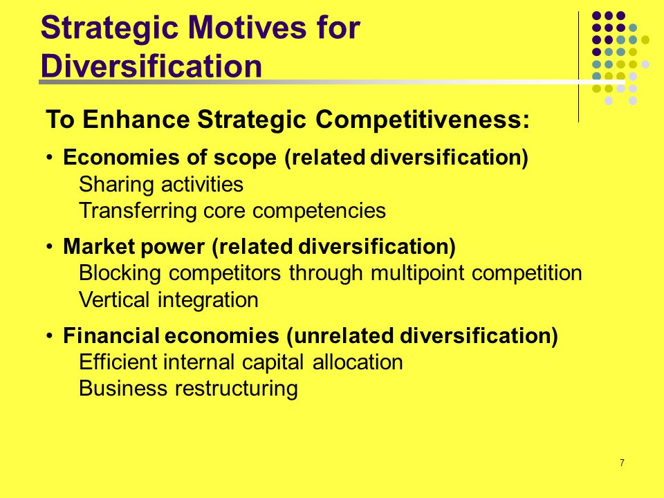 7 Strategic Motives for Diversification To Enhance Strategic Competitiveness: Economies of scope (related diversification) Sharing activities Transfer