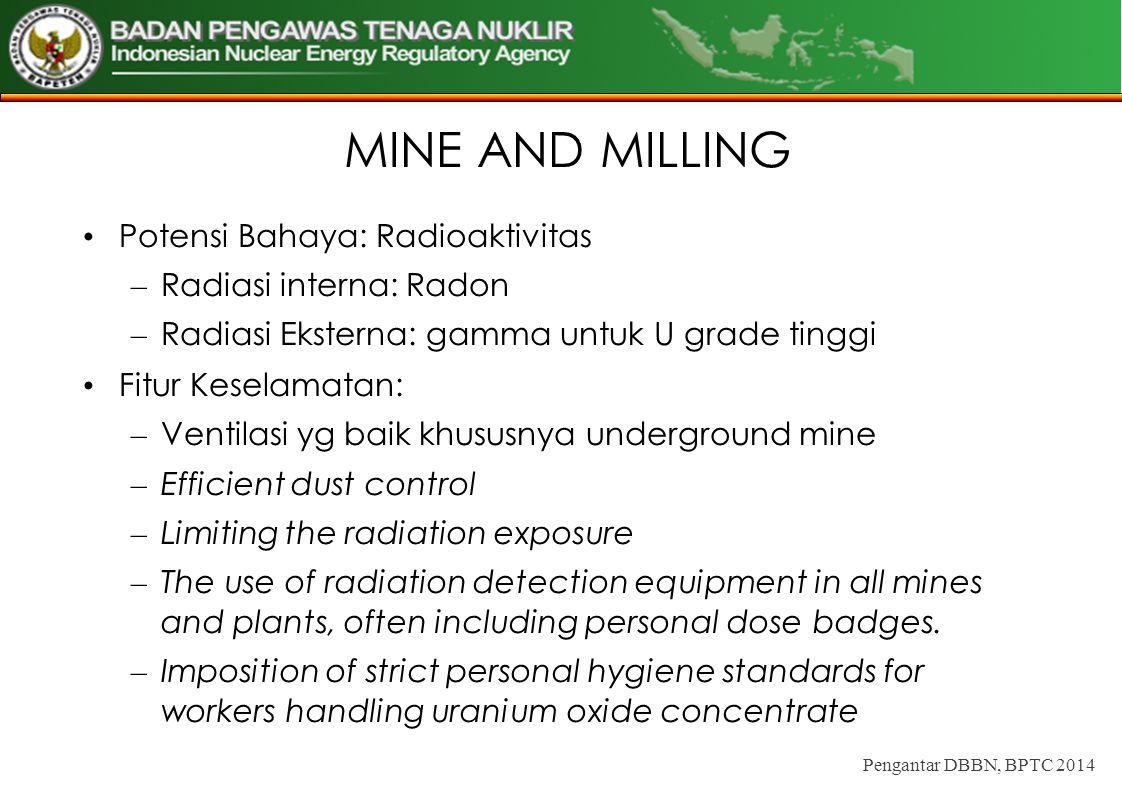 MINE AND MILLING Potensi Bahaya: Radioaktivitas – Radiasi interna: Radon – Radiasi Eksterna: gamma untuk U grade tinggi Fitur Keselamatan: – Ventilasi