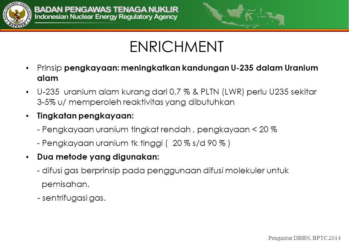 ENRICHMENT Prinsip pengkayaan: meningkatkan kandungan U-235 dalam Uranium alam U-235 uranium alam kurang dari 0,7 % & PLTN (LWR) perlu U235 sekitar 3-