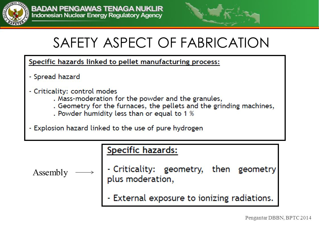 SAFETY ASPECT OF FABRICATION Pengantar DBBN, BPTC 2014 Assembly