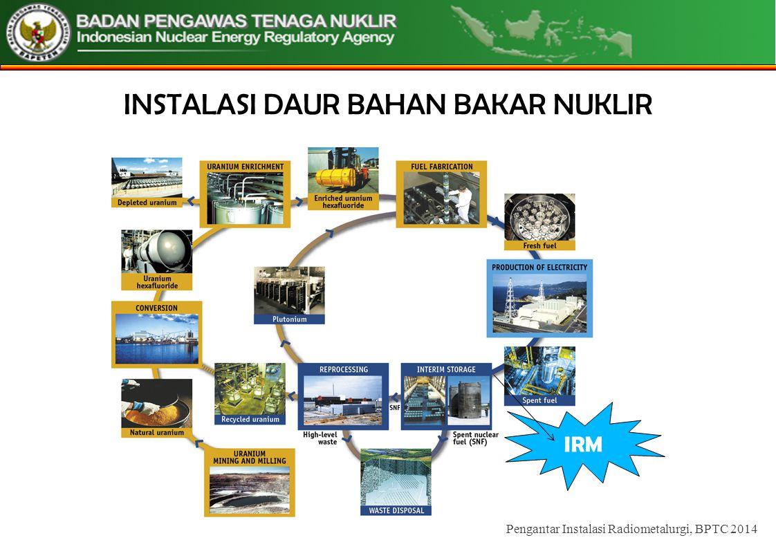PENUTUP Jenis instalasi daur bahan bakar nuklir Kegiatan Utama Instalasi Aspek keselamatan Instalasi – Potensi Bahaya Pengantar DBBN, BPTC 2014