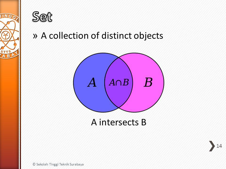 » A collection of distinct objects A intersects B 14 © Sekolah Tinggi Teknik Surabaya