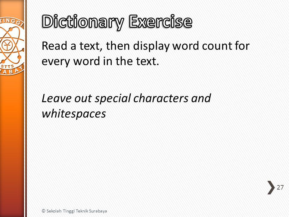 Read a text, then display word count for every word in the text.