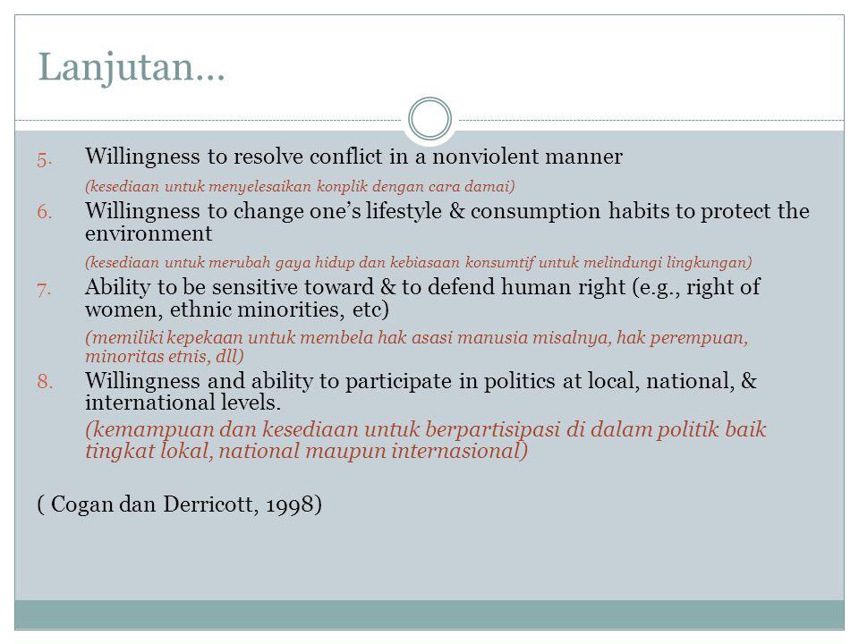 Lanjutan… 5. Willingness to resolve conflict in a nonviolent manner (kesediaan untuk menyelesaikan konplik dengan cara damai) 6. Willingness to change