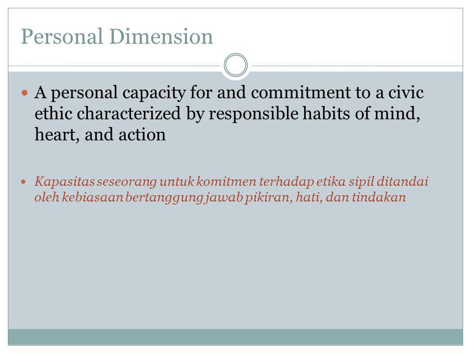Social Dimension Capacity to live and work together for civic purposes Kapasitas untuk hidup dan bekerjasama untuk tujuan bersama