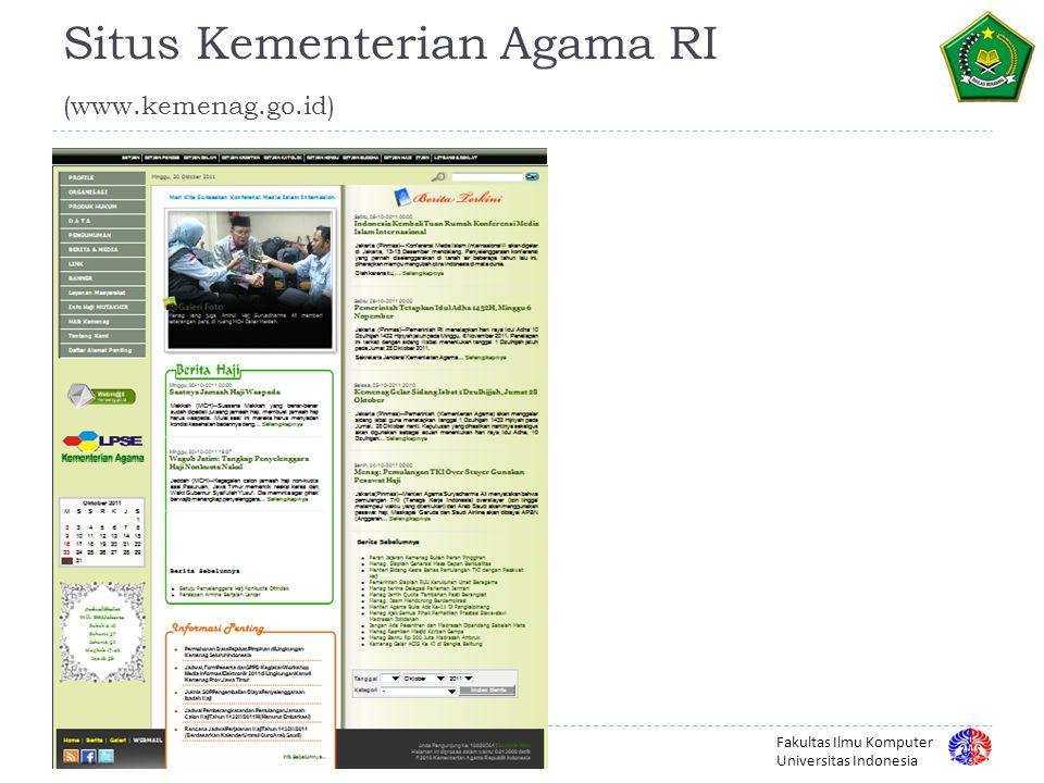 Fakultas Ilmu Komputer Universitas Indonesia Situs Kementerian Agama RI (www.kemenag.go.id) 16