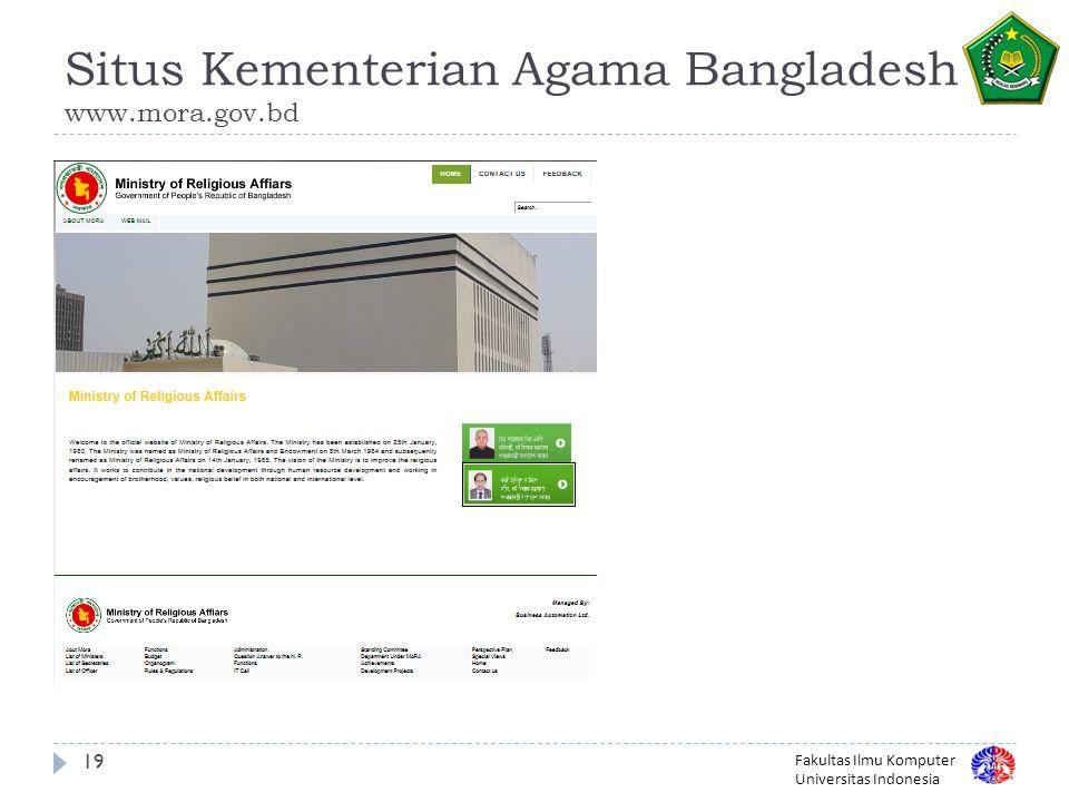 Fakultas Ilmu Komputer Universitas Indonesia Situs Kementerian Agama Bangladesh www.mora.gov.bd 19