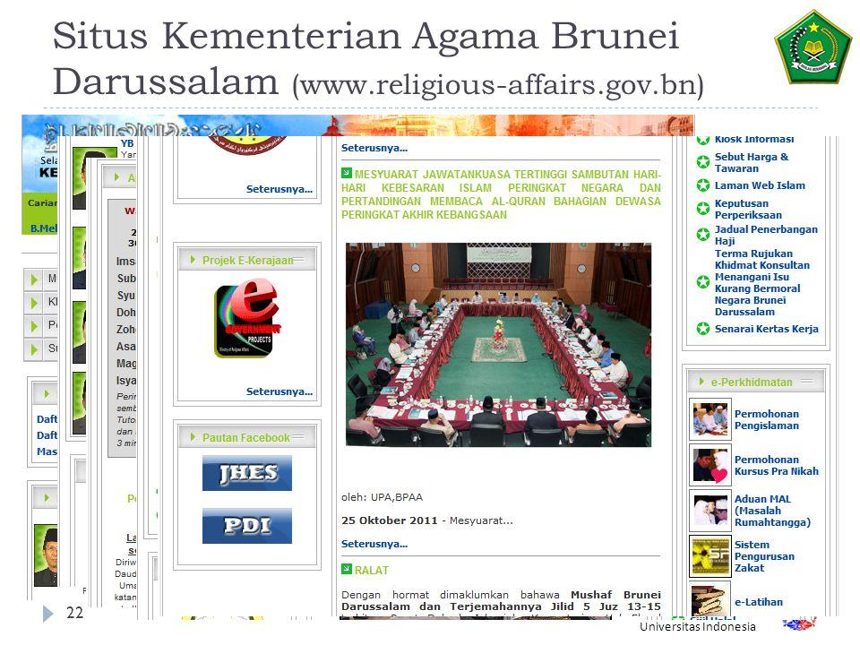 Fakultas Ilmu Komputer Universitas Indonesia Situs Kementerian Agama Brunei Darussalam (www.religious-affairs.gov.bn) 22