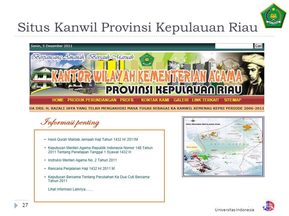 Fakultas Ilmu Komputer Universitas Indonesia Situs Kanwil Provinsi Kepulauan Riau 27