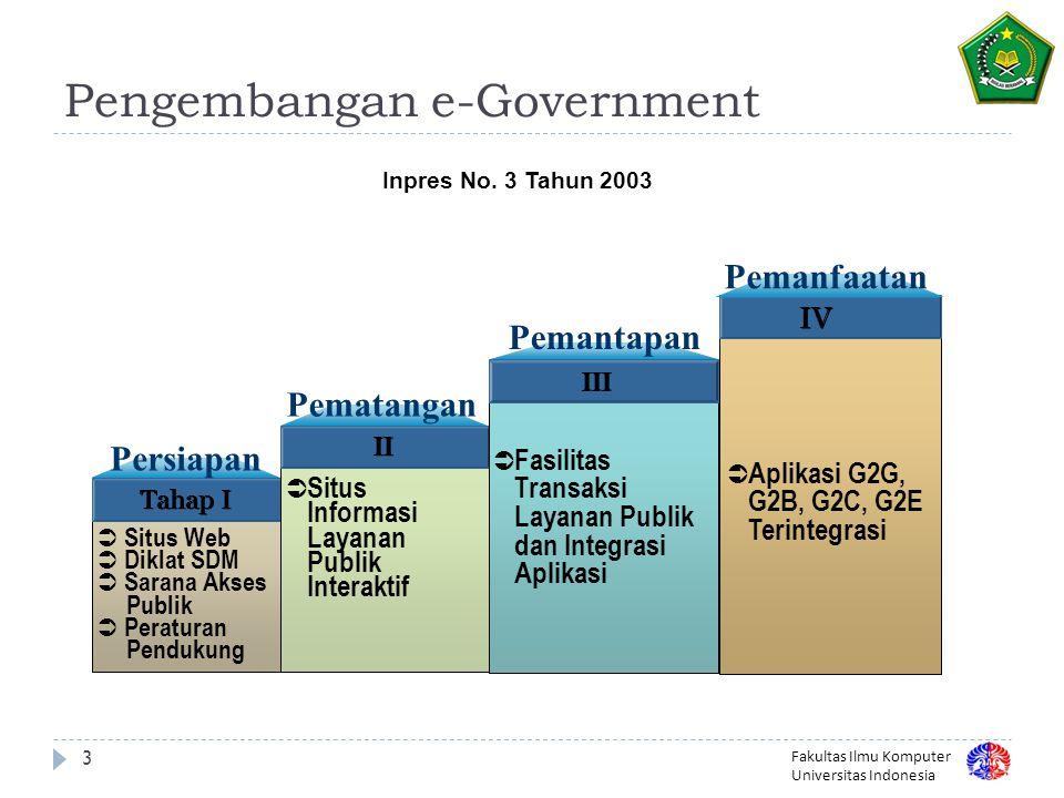 Fakultas Ilmu Komputer Universitas Indonesia Pengembangan e-Government 3 Tahap I Persiapan  Situs Web  Diklat SDM  Sarana Akses Publik  Peraturan Pendukung Pematangan II  Situs Informasi Layanan Publik Interaktif Pemantapan III  Fasilitas Transaksi Layanan Publik dan Integrasi Aplikasi IV  Aplikasi G2G, G2B, G2C, G2E Terintegrasi Pemanfaatan Inpres No.