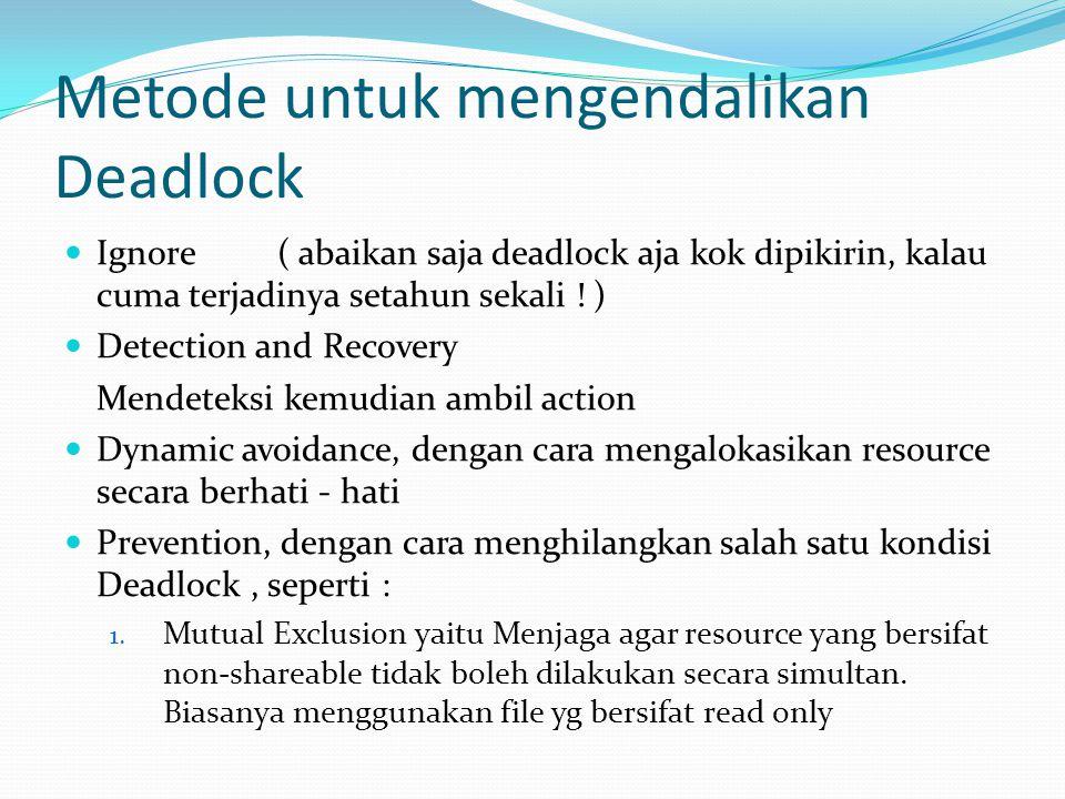 Metode untuk mengendalikan Deadlock Ignore( abaikan saja deadlock aja kok dipikirin, kalau cuma terjadinya setahun sekali ! ) Detection and Recovery M