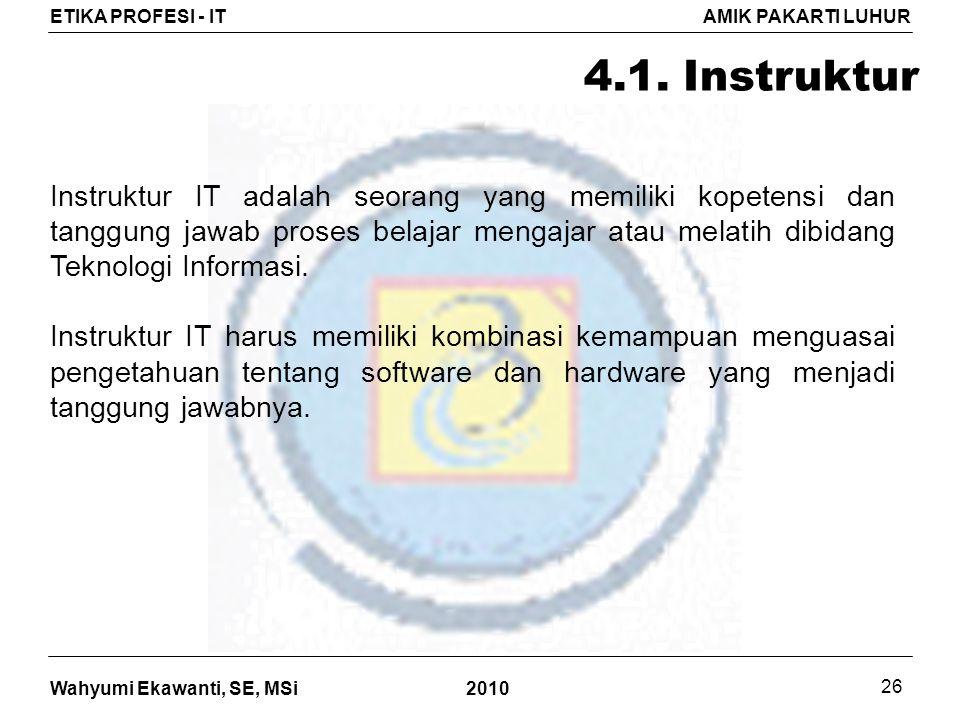Wahyumi Ekawanti, SE, MSi ETIKA PROFESI - ITAMIK PAKARTI LUHUR 2010 26 4.1.