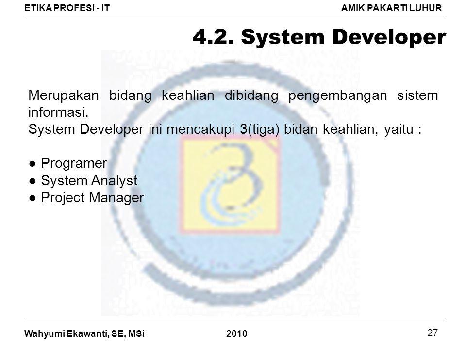 Wahyumi Ekawanti, SE, MSi ETIKA PROFESI - ITAMIK PAKARTI LUHUR 2010 27 4.2.