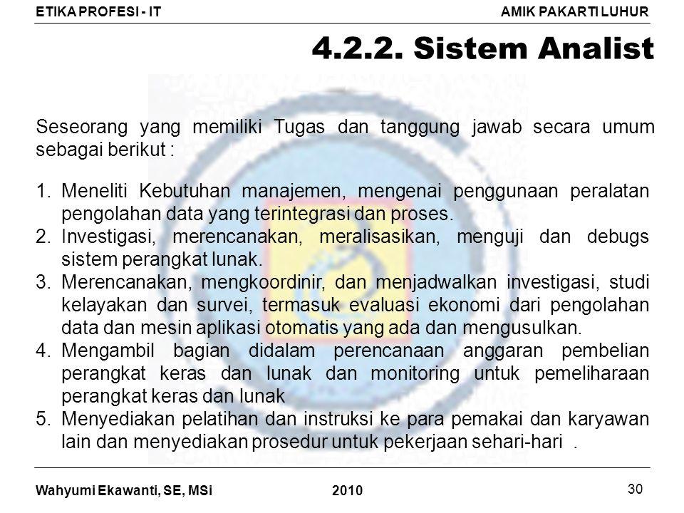 Wahyumi Ekawanti, SE, MSi ETIKA PROFESI - ITAMIK PAKARTI LUHUR 2010 30 4.2.2.
