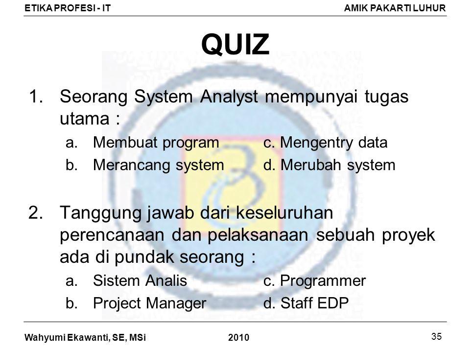 Wahyumi Ekawanti, SE, MSi ETIKA PROFESI - ITAMIK PAKARTI LUHUR 2010 35 QUIZ 1.Seorang System Analyst mempunyai tugas utama : a.Membuat programc.