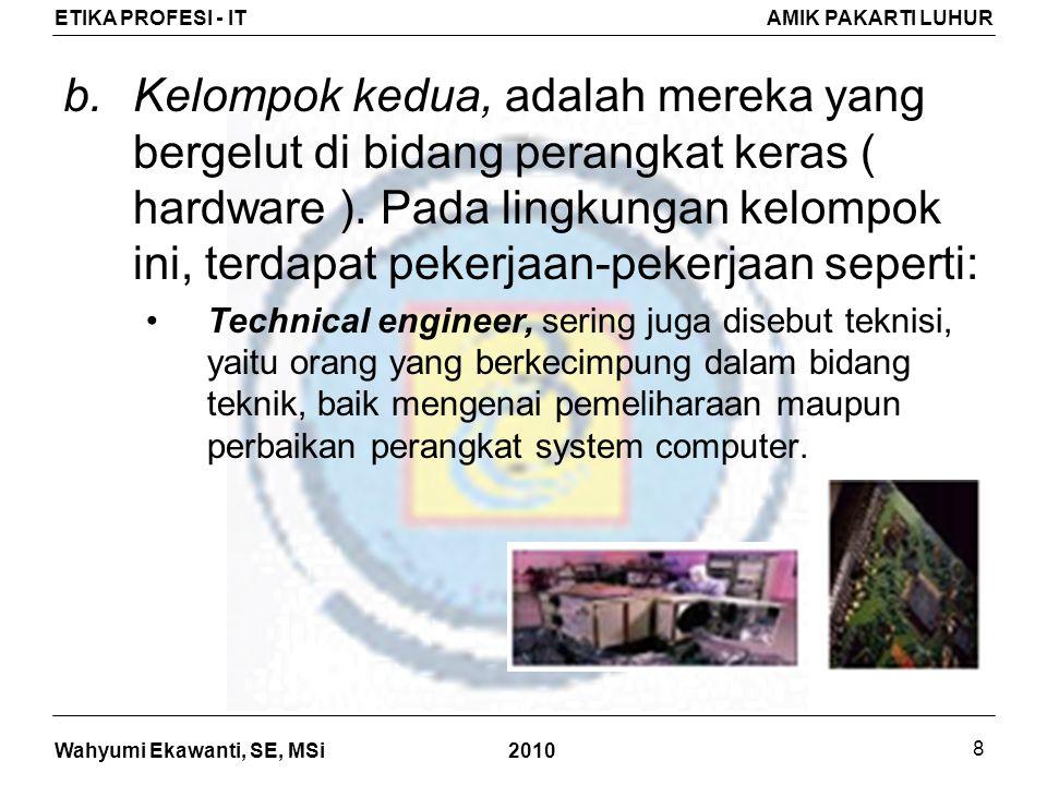 Wahyumi Ekawanti, SE, MSi ETIKA PROFESI - ITAMIK PAKARTI LUHUR 2010 8 b.Kelompok kedua, adalah mereka yang bergelut di bidang perangkat keras ( hardware ).