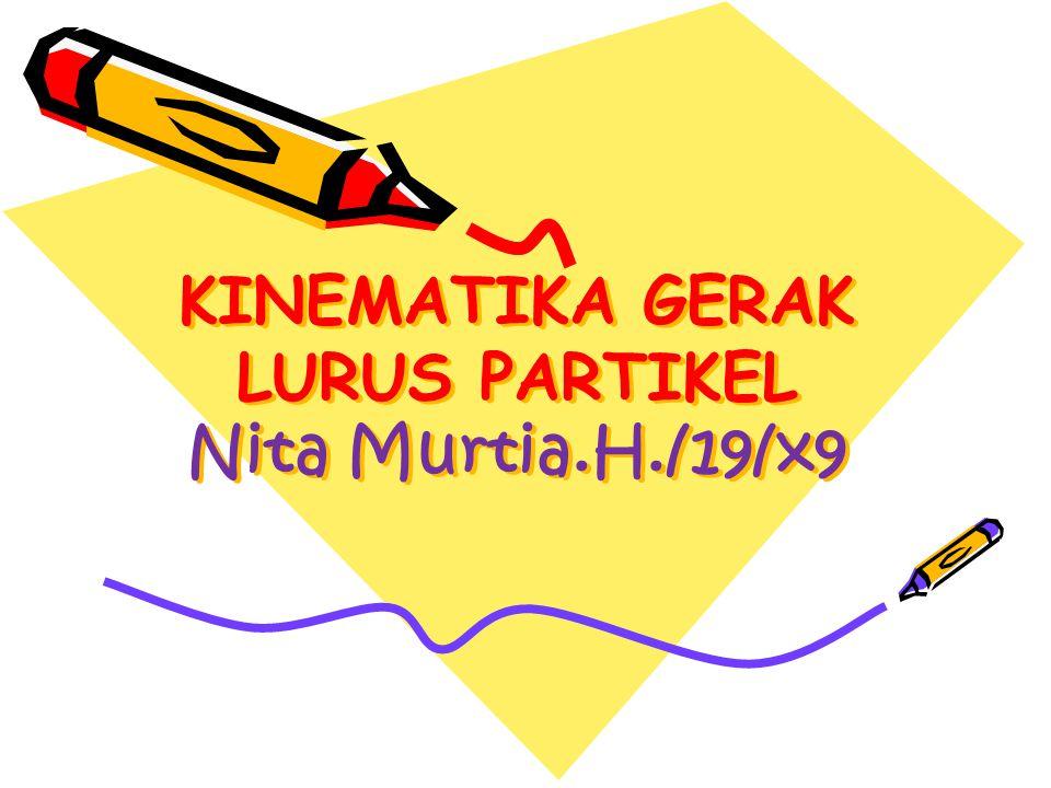 KINEMATIKA GERAK LURUS PARTIKEL Nita Murtia.H./19/x9