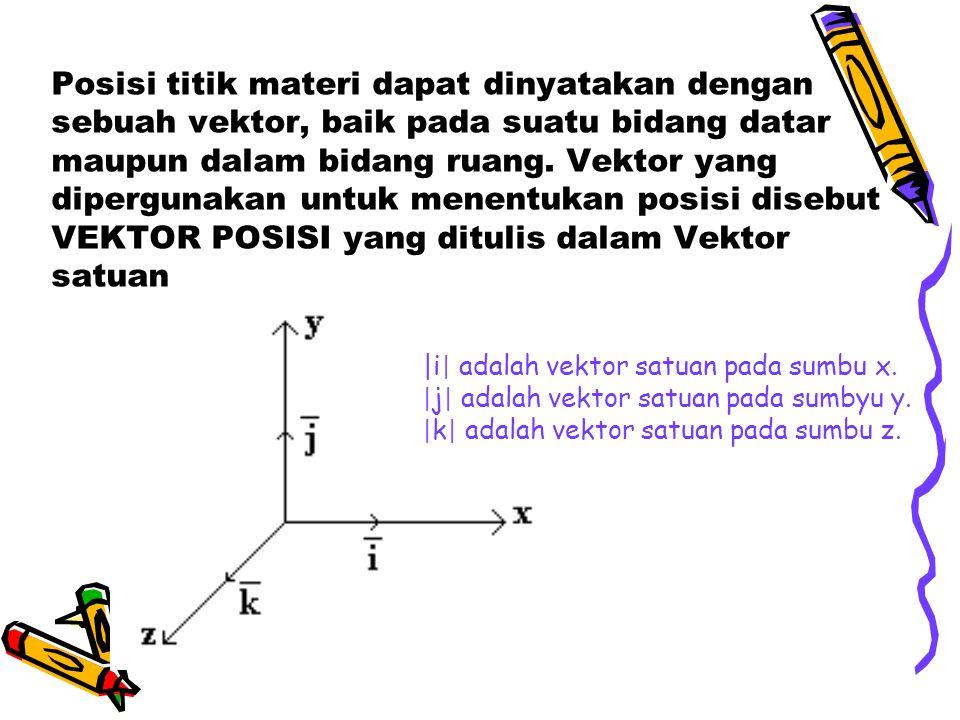 Posisi titik materi dapat dinyatakan dengan sebuah vektor, baik pada suatu bidang datar maupun dalam bidang ruang. Vektor yang dipergunakan untuk mene