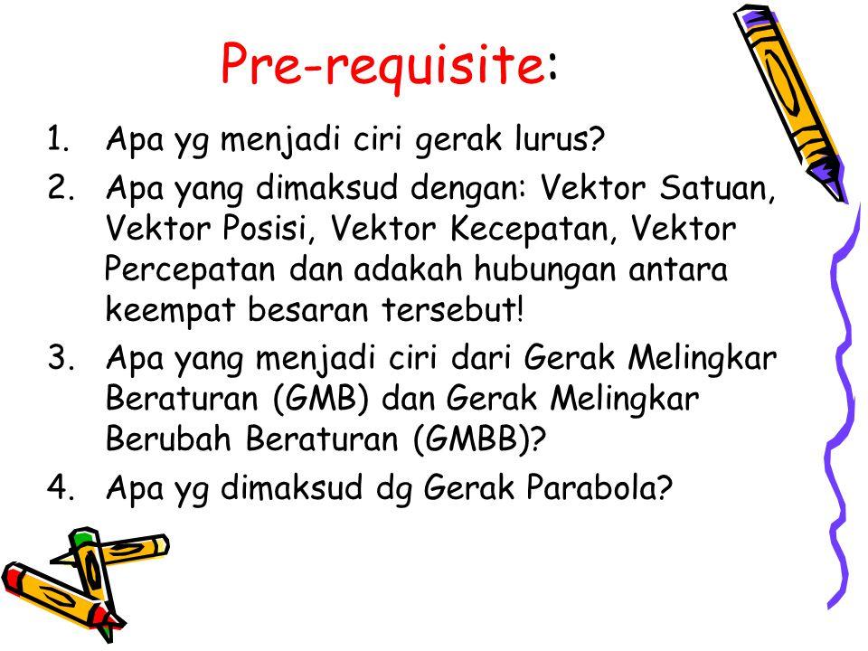 Pre-requisite: 1.Apa yg menjadi ciri gerak lurus? 2.Apa yang dimaksud dengan: Vektor Satuan, Vektor Posisi, Vektor Kecepatan, Vektor Percepatan dan ad