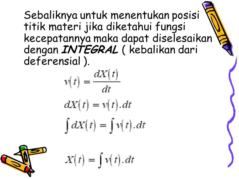 Sebaliknya untuk menentukan posisi titik materi jika diketahui fungsi kecepatannya maka dapat diselesaikan dengan INTEGRAL ( kebalikan dari deferensia