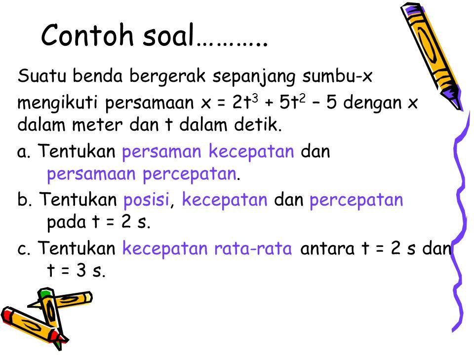 Contoh soal……….. Suatu benda bergerak sepanjang sumbu-x mengikuti persamaan x = 2t 3 + 5t 2 – 5 dengan x dalam meter dan t dalam detik. a. Tentukan pe