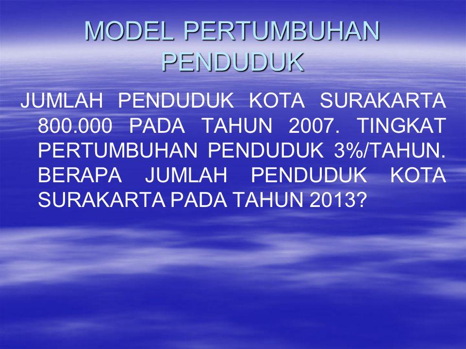 MODEL PERTUMBUHAN PENDUDUK JUMLAH PENDUDUK KOTA SURAKARTA 800.000 PADA TAHUN 2007.