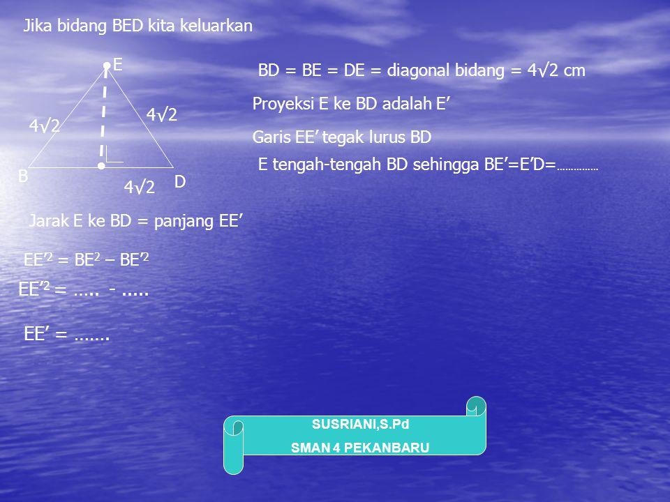SUSRIANI,S.Pd SMAN 4 PEKANBARU Jika bidang BED kita keluarkan B D E BD = BE = DE = diagonal bidang = 4√2 cm 4√2 4√2 4√2 ● ● Proyeksi E ke BD adalah E'