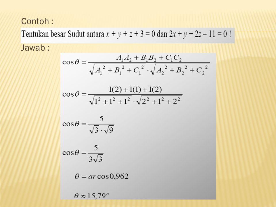 Sudut antara dua bidang rata merupakan sudut antara vektor-vektor normalnya.
