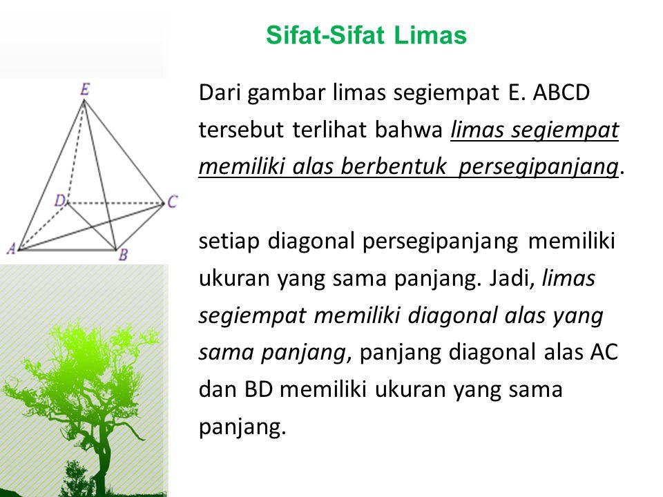 Dari gambar limas segiempat E. ABCD tersebut terlihat bahwa limas segiempat memiliki alas berbentuk persegipanjang. setiap diagonal persegipanjang mem