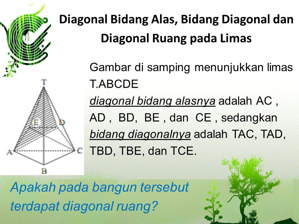 Diagonal Bidang Alas, Bidang Diagonal dan Diagonal Ruang pada Limas Gambar di samping menunjukkan limas T.ABCDE diagonal bidang alasnya adalah AC, AD,