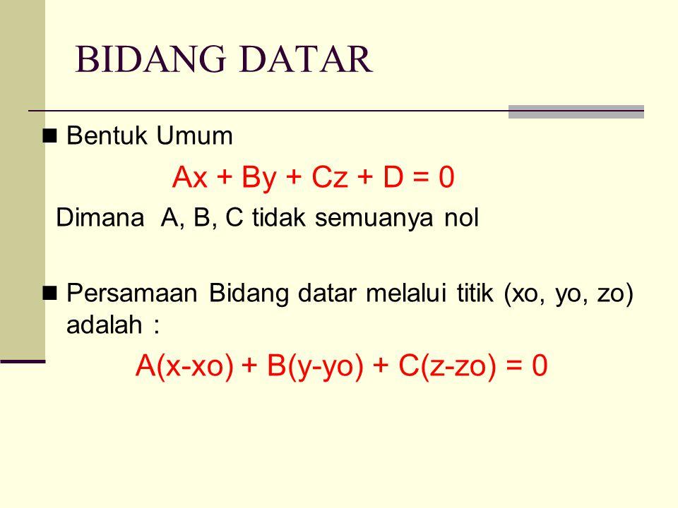 BIDANG DATAR Bentuk Umum Ax + By + Cz + D = 0 Dimana A, B, C tidak semuanya nol Persamaan Bidang datar melalui titik (xo, yo, zo) adalah : A(x-xo) + B(y-yo) + C(z-zo) = 0