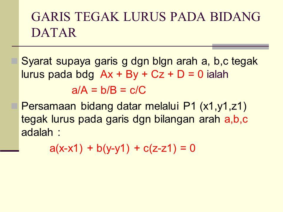GARIS TEGAK LURUS PADA BIDANG DATAR Syarat supaya garis g dgn blgn arah a, b,c tegak lurus pada bdg Ax + By + Cz + D = 0 ialah a/A = b/B = c/C Persamaan bidang datar melalui P1 (x1,y1,z1) tegak lurus pada garis dgn bilangan arah a,b,c adalah : a(x-x1) + b(y-y1) + c(z-z1) = 0