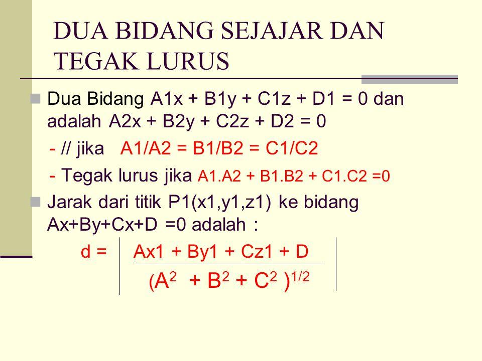 DUA BIDANG SEJAJAR DAN TEGAK LURUS Dua Bidang A1x + B1y + C1z + D1 = 0 dan adalah A2x + B2y + C2z + D2 = 0 - // jika A1/A2 = B1/B2 = C1/C2 - Tegak lurus jika A1.A2 + B1.B2 + C1.C2 =0 Jarak dari titik P1(x1,y1,z1) ke bidang Ax+By+Cx+D =0 adalah : d = Ax1 + By1 + Cz1 + D ( A 2 + B 2 + C 2 ) 1/2