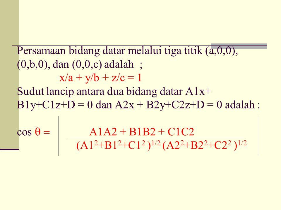 Persamaan bidang datar melalui tiga titik (a,0,0), (0,b,0), dan (0,0,c) adalah ; x/a + y/b + z/c = 1 Sudut lancip antara dua bidang datar A1x+ B1y+C1z+D = 0 dan A2x + B2y+C2z+D = 0 adalah : cos  A1A2 + B1B2 + C1C2 (A1 2 +B1 2 +C1 2 ) 1/2 (A2 2 +B2 2 +C2 2 ) 1/2