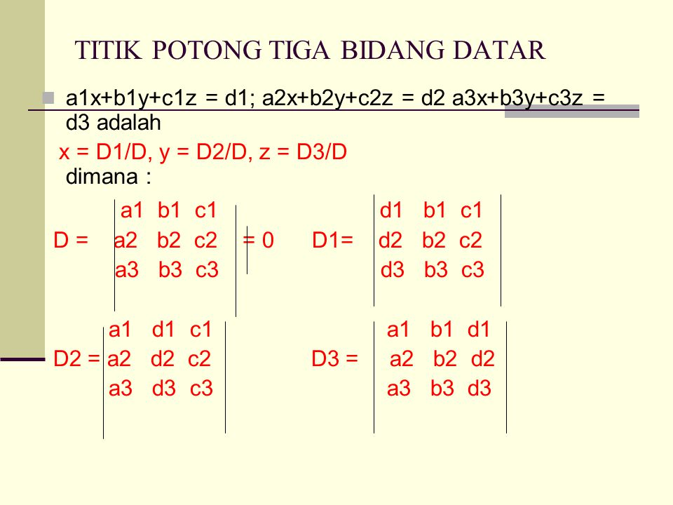 TITIK POTONG TIGA BIDANG DATAR a1x+b1y+c1z = d1; a2x+b2y+c2z = d2 a3x+b3y+c3z = d3 adalah x = D1/D, y = D2/D, z = D3/D dimana : a1 b1 c1 d1 b1 c1 D = a2 b2 c2 = 0 D1= d2 b2 c2 a3 b3 c3 d3 b3 c3 a1 d1 c1 a1 b1 d1 D2 = a2 d2 c2 D3 = a2 b2 d2 a3 d3 c3 a3 b3 d3